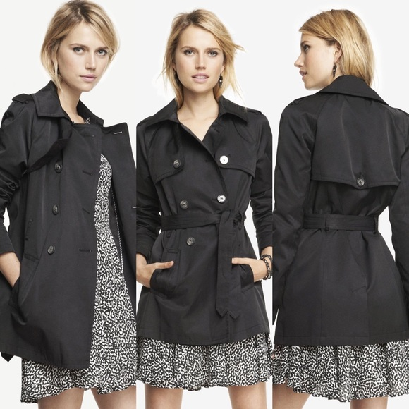Express Jackets & Blazers - ➳ Express Black Button Up Trench Coat